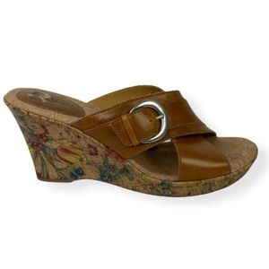 Born BOC Leather Brown Floral Wedge Sandals Mules